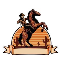 cowboy ride a horse vector image