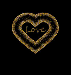 Creative sparkling heart made by golden glitter vector