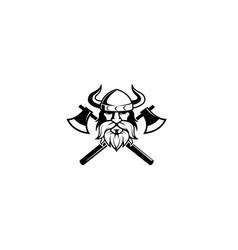 creative viking head cleavers logo vector image