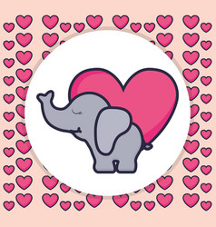 cute and little elephant with heart vector image