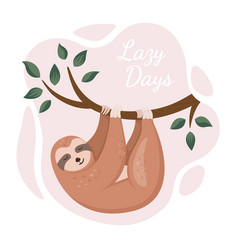 cute sloth hanging on tree in a jungle cartoon vector image