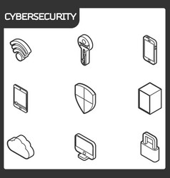 Cybersecurity outline isometric icons vector