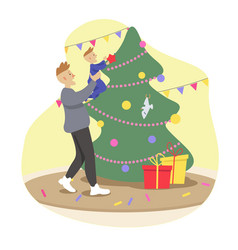 Dad and baby decorate the christmas tree vector