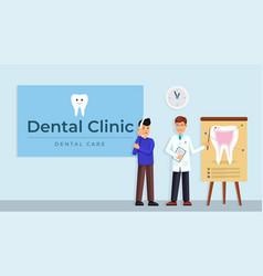 dentsist consultating patient vector image