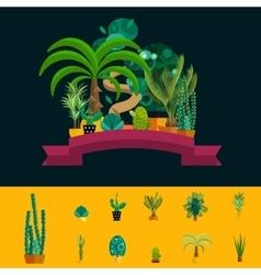 Desert flowers Exotic plant bush palm tree vector