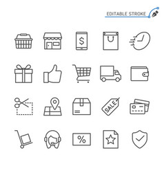 e-commerce line icons editable stroke vector image