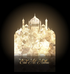 Eid al adha background with low poly mosque design vector