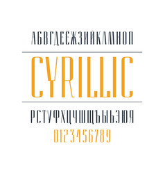 Elegant cyrillic narrow sans serif font vector