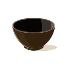 Empty brown bowl vector