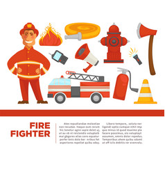 Fire fighter with work equipment on promotional vector