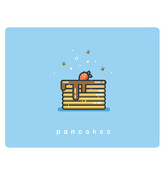 Flat icon of pancakes with chocolate syrup and vector