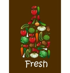 Fresh vegetables in shape of cutting board vector