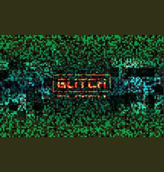 glitch matrix concept green pixel composition vector image