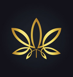 Gold leaf cannabis logo vector