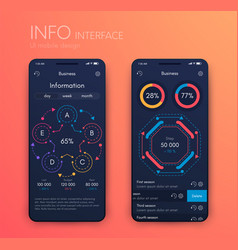 graphics mobile infographics with two and vector image