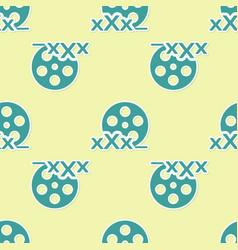 Green film reel with inscription xxx icon vector