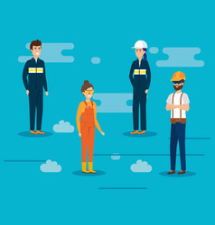 group of workers characters vector image