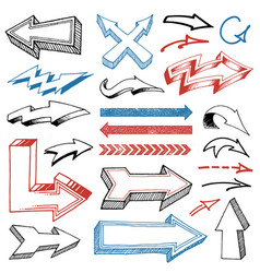 Grunged hand drawn arrows set vector