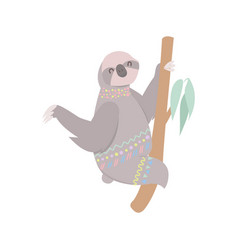happy cute sloth sitting on tree isolated on vector image