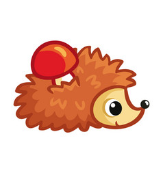 Hedgehog on a white background carries a red vector