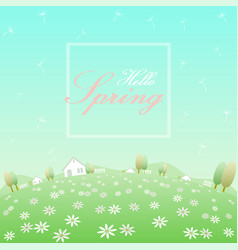 hello spring flower field vector image