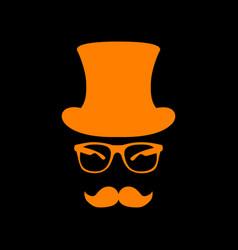 hipster accessories design orange icon on black vector image