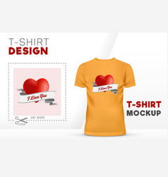 I love you t-shirt design 3d heart with ribbon vector