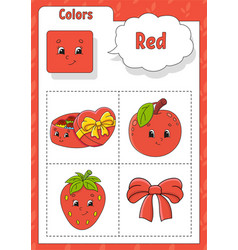 Learning colors red color flashcard for kids cute vector