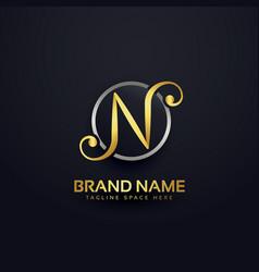 letten n logo design in creative style vector image