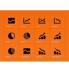 Line chart and Diagram icons on orange background vector image