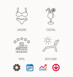 Lingerie deck chair and cocktail icons vector