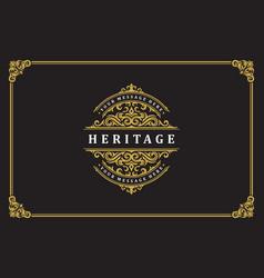 luxury ornament vintage logo template design vector image