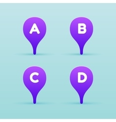 Map violet pin icon with letter on a blue vector