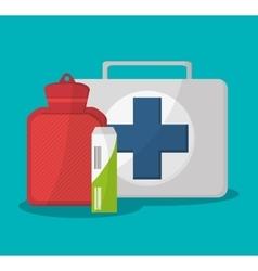 Medical kit bag and medical care design vector