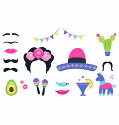 mexican fiesta party elements and photo booth vector image