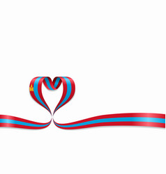 Mongolian flag heart-shaped ribbon vector
