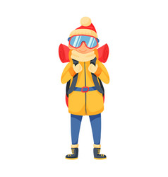 Mountaineer backpacker in winter clothes isolated vector