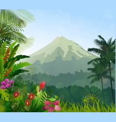Mountains landscape of tropical background vector
