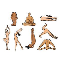 naked yoga bodies set yoga asanas sketch vector image