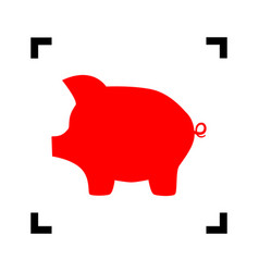 pig money bank sign red icon inside black vector image