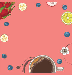 Pink card with coffe and fruits vector
