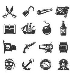 pirates black icon set adventure and travel vector image