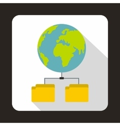 Planet and two folders icon flat style vector image