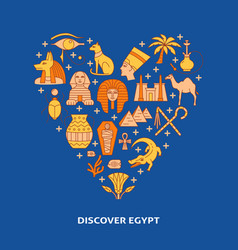 Poster with egypt symbols in colored line style vector