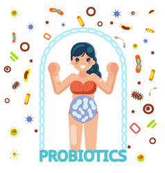 Probiotic female health protection medicine flat vector