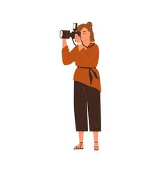 professional female photographer holding digital vector image