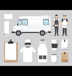 Restaurant cafe design set street food truck shop vector