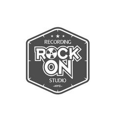 rock on recording studio label badge vector image