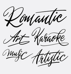 romantic and karaoke hand written typography vector image