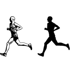 Runner sketch and silhouette vector